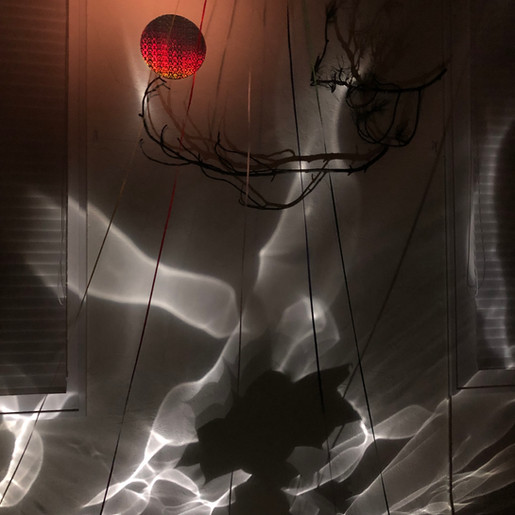 Blood moon and reflections at night (detail), 2019