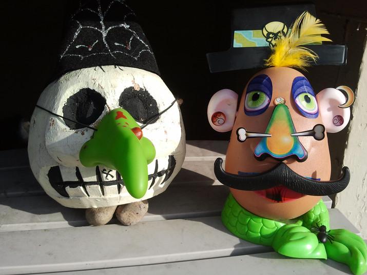 Nosey skeleton and festive potato head, 2011