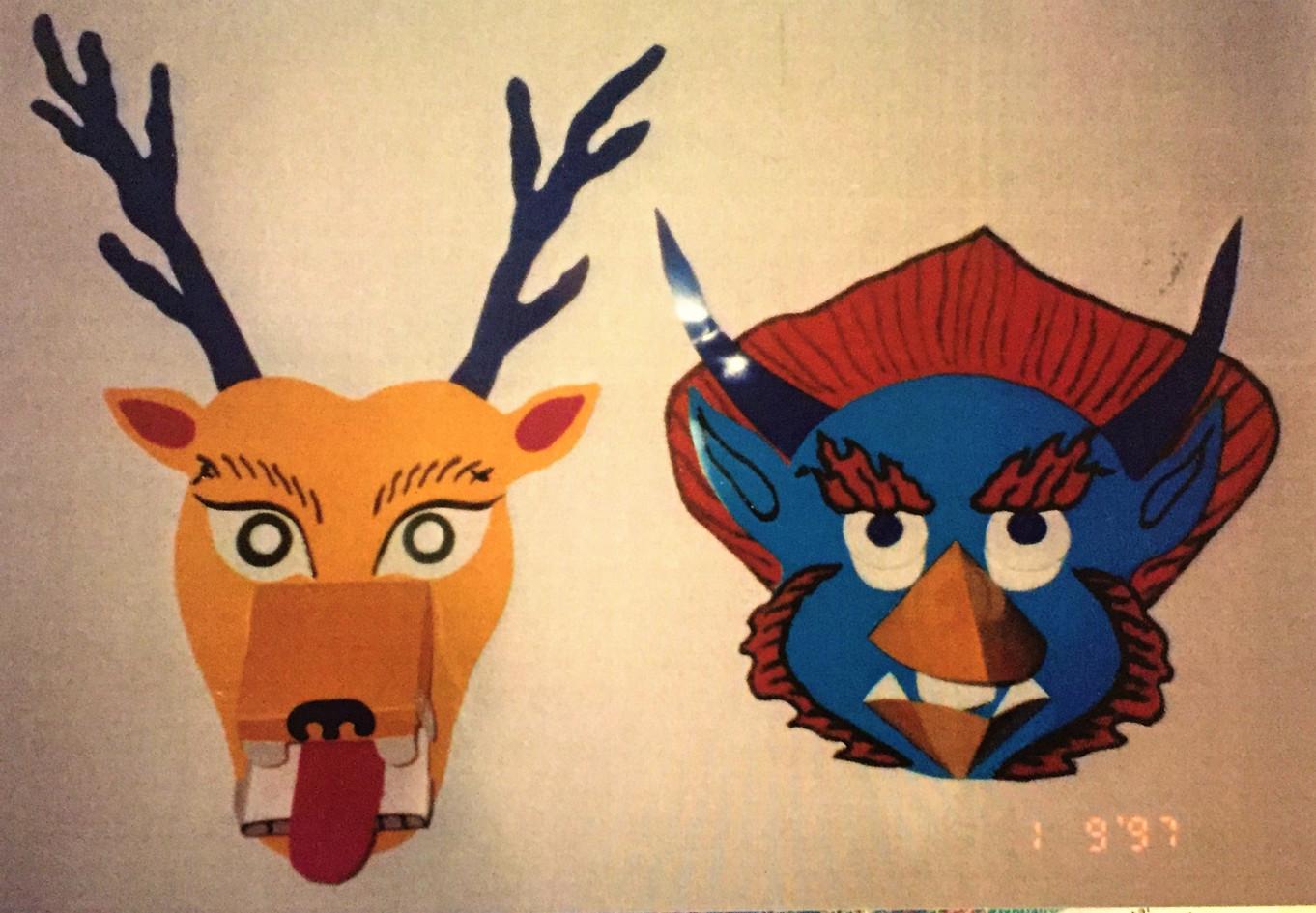 Deer and Garuda masks for children, 1997