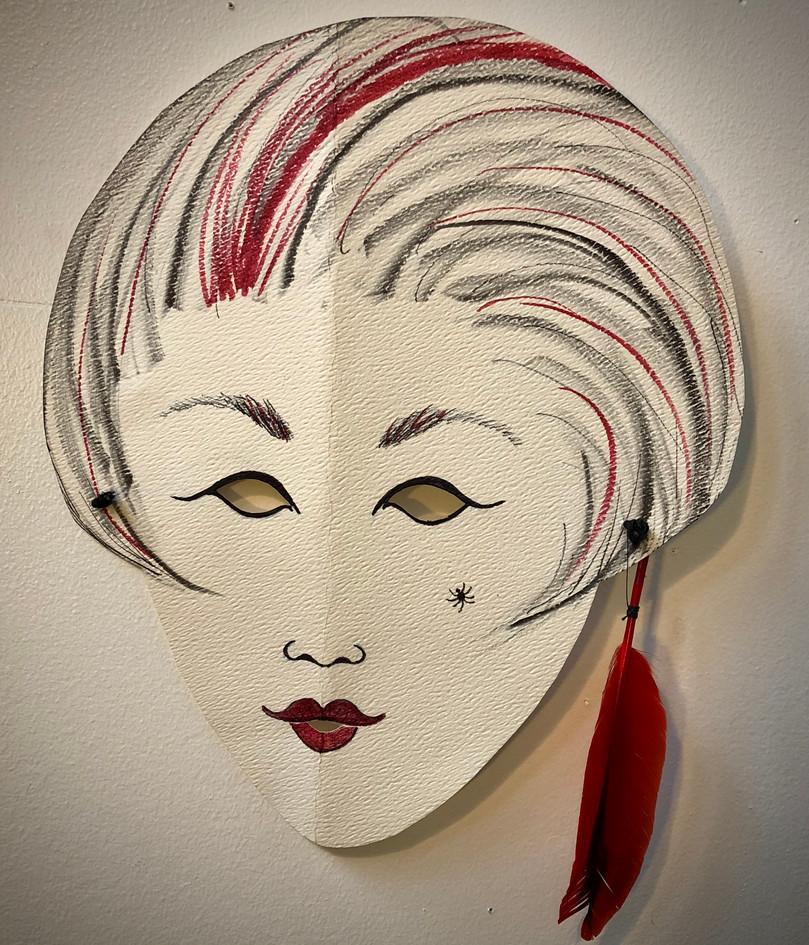 Black & red female mask, 1992