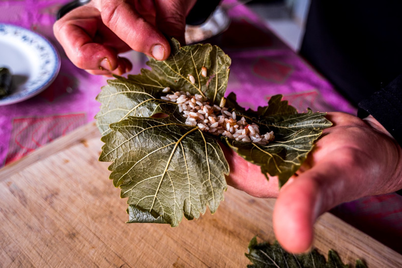 Preparing Stuffed Vine Leaves