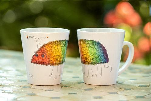 Rainbow Bug Scroodle Latte Mug