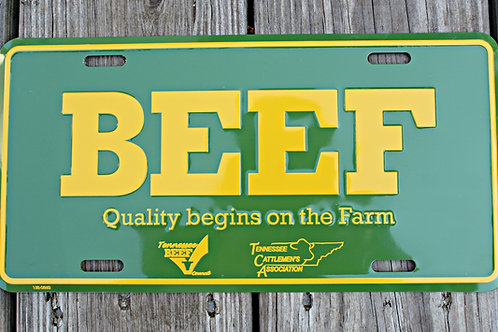TCA BEEF License Plate - Green / Yellow
