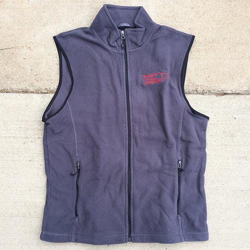 Gray Fleece Vest, Red Logo