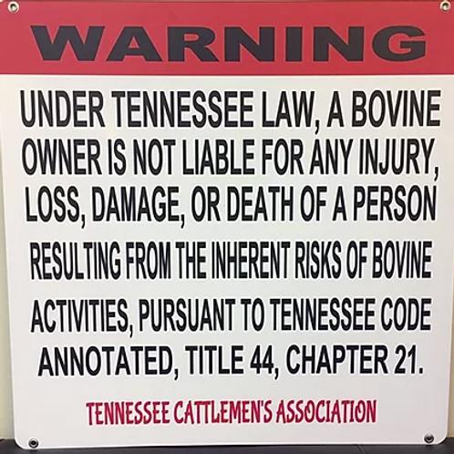 TCA Bovine Liability Sign