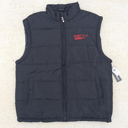 Black Puffer Vest, Red Logo