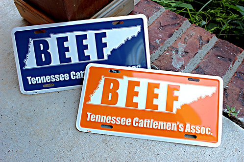 BEEF License Plate with State Outline