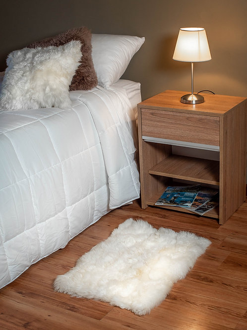 White Sheepskin bedside carpet (small). BAJ 03