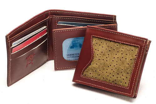"""Men's  """"Grained"""" wallet with double card slot and window ID section. BILL 52"""