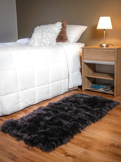 Grey Sheepskin bedside carpet (long ). BAJ 06