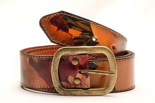Leather floral belt.  CIN 17
