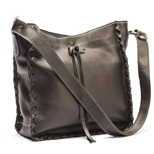 Black leather handbag. BOLS 06
