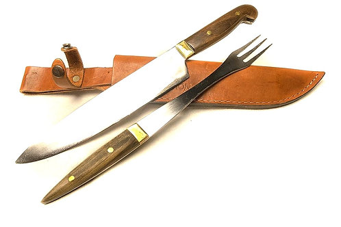 Large knife and fork set with wood handle.  CUCH 59