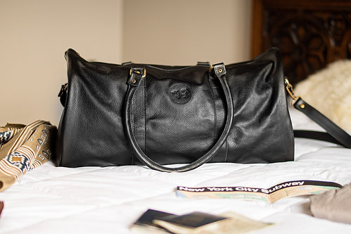 Large Black leather travel  bag. BOLS 21