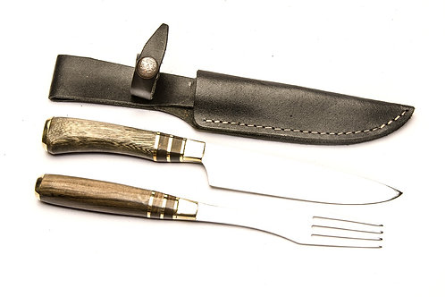 Big inlaid wooden handle knife and fork set. CUCH 61