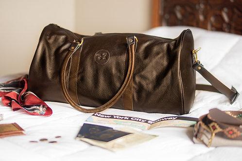 Large Brown leather  travel  bag. BOLS 20