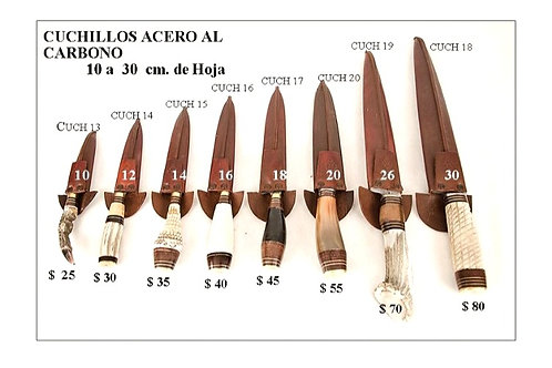 """Carbon Steel knives,  blades from 4"""" to 12""""."""