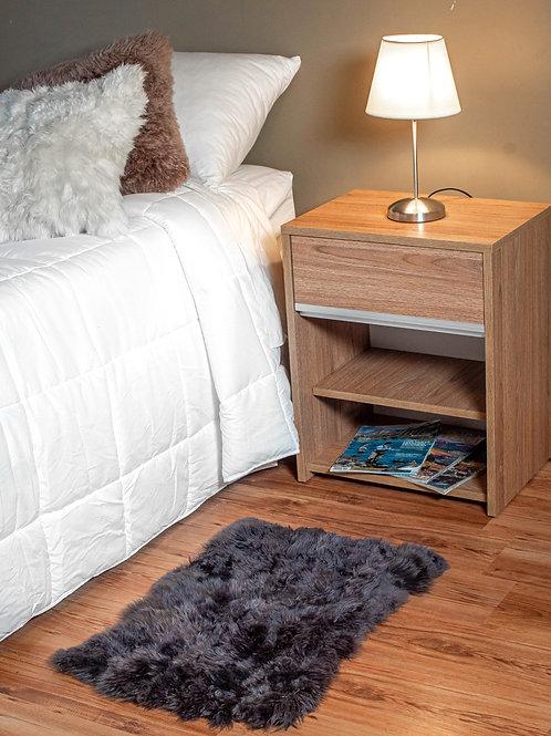Grey Sheepskin bedside carpet (small). BAJ 04
