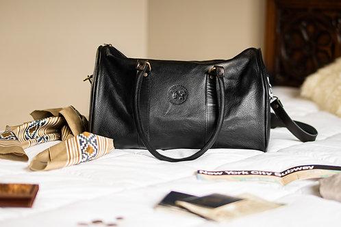 Small Black leather travel bag. BOLS 24