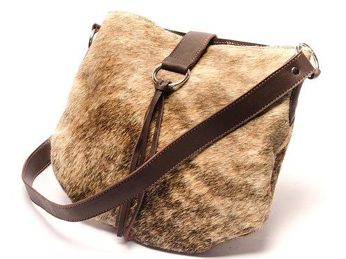 Cowhide leather handbag with fringes. CART 01