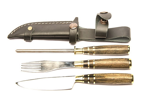 Inlaid wooden handle knife, fork and knife sharpening steel set. CUCH 47