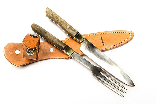 Wooden handle knife and fork cutlery set. CUCH 40