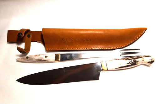 Large stag handle knife and fork set. CUCH 58