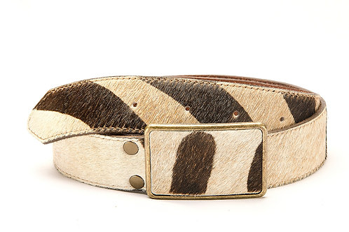 "Lady's belt Zebra animal print with ""Chapon "" buckle. CIN 06"
