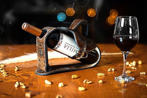 Cowhide Saddle wine holder. VIN 06