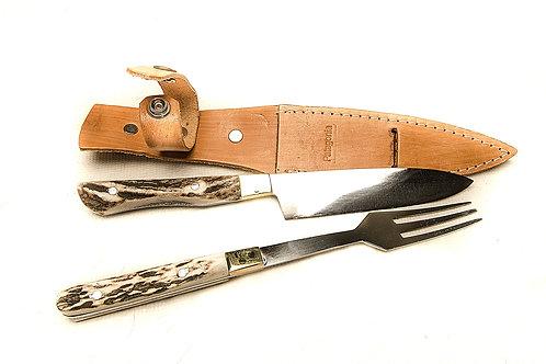 Big deer antler handle knife and fork set.  CUCH 45
