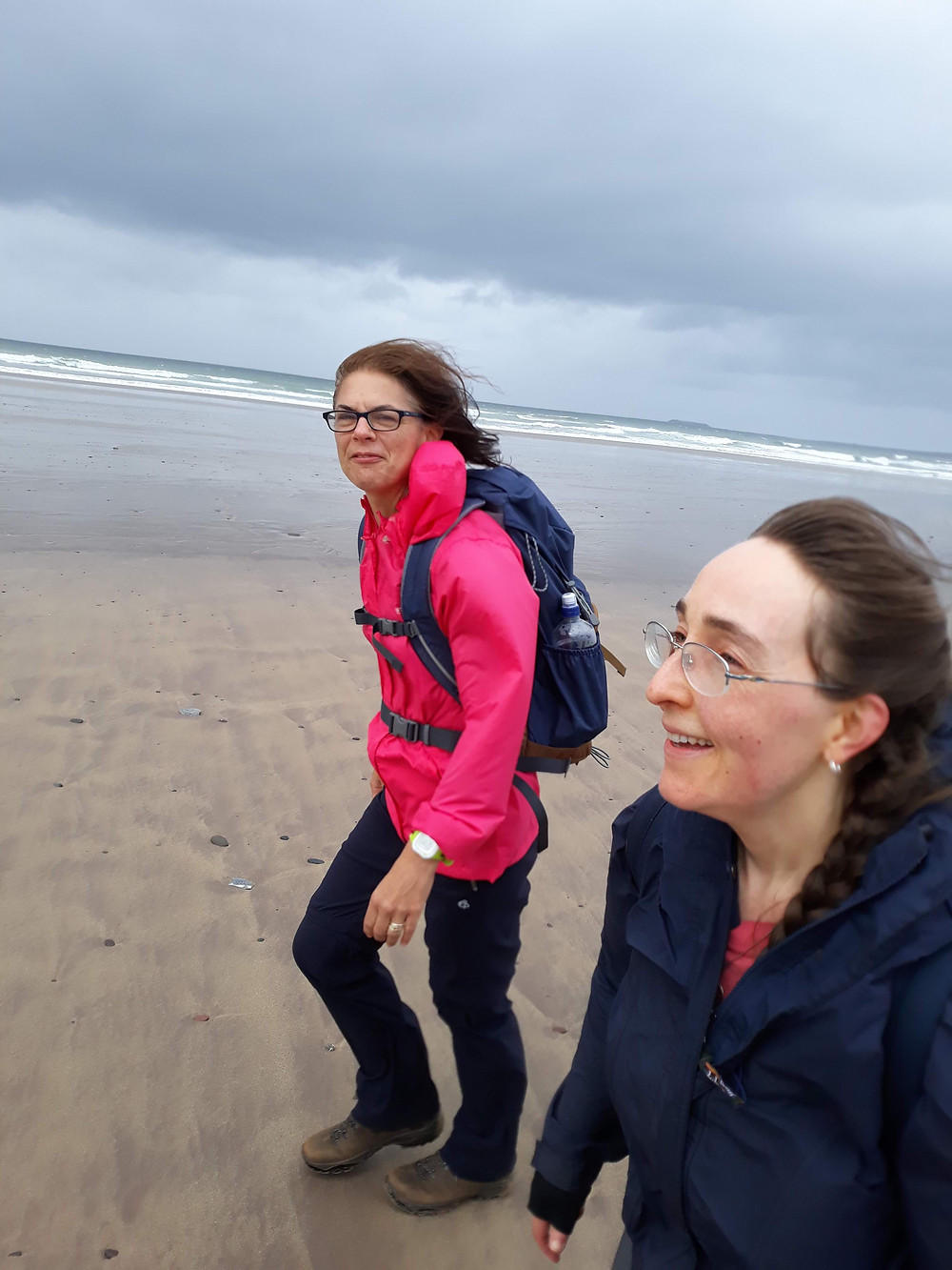 Fiona and I walking in extreme wind