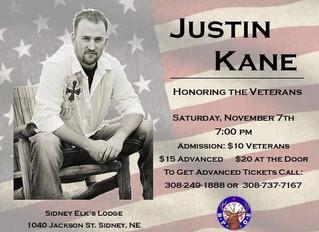 Justin Kane Concert November 7th
