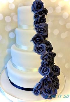 blue rose cascade wedding cake.jpg