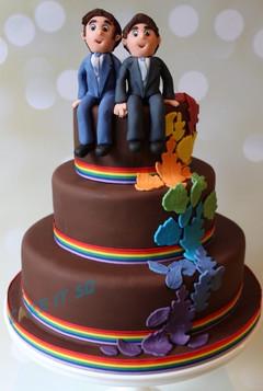 Autum Leaf Rainbow Pride Wedding Cake