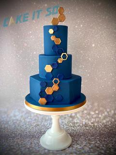 Hexagon Navy Gold Wedding Cake