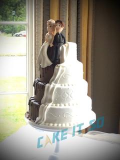 half chocolate wedding cake bride groom
