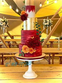 Burgundy Burnt Orange Dahlia Roses Wedding Cake