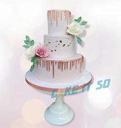 Pink Roses Wedding Cake Rose Gold Drip