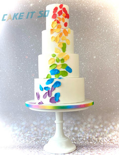 Rainbow Dots Pride Wedding Cake