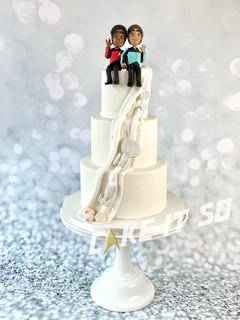 star trek hidden back wedding cake front