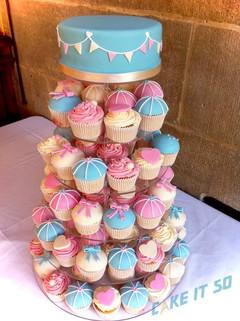 pink blue cream bunting wedding cupcake