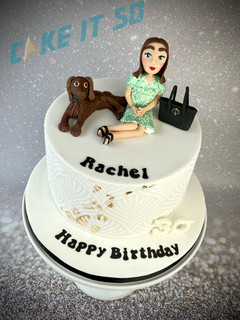 Dog Handbag Stencil Gold Birthday Cake