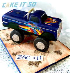 monster truck remote control cake