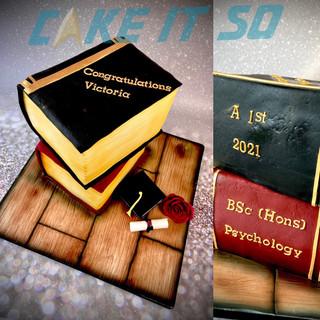 Psychology Books Graduation Cake