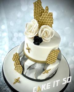 Honey Bee Black Gold Marble Wedding Cake