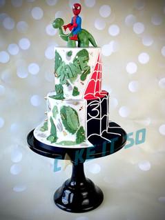 spiderman dinosaur cake.JPG