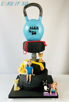 Gym Kettlebell Dumbbell Birthday Cake