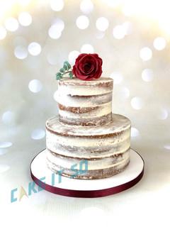 Semi Naked Wedding Cake Rose Eucalyptus