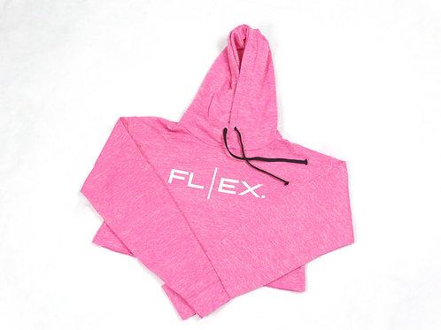 Fleece Crop Hoodie - Strawberry Pink/White