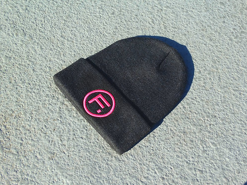 Folded Beanie - Charcoal/Hot Pink